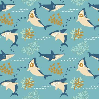 Tapeta Kreskówka wektor zły rekiny wzór