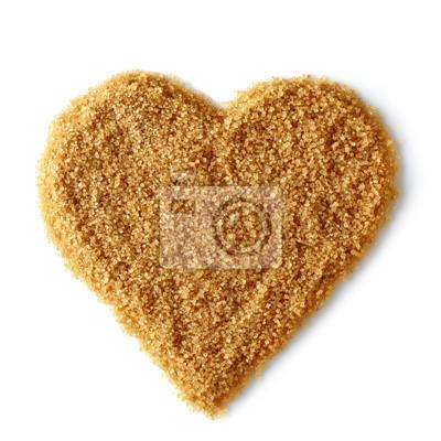 Kształt serca z brązowym cukrem