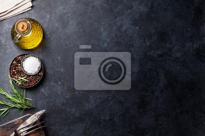 Tapeta Kulinarni składniki i naczynia na kamienia stole