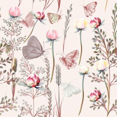 Tapeta Kwiat wektor wzór z roślin. Styl vintage prowizji