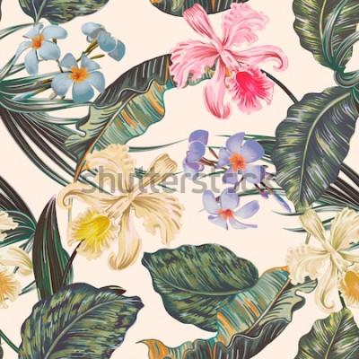 Tapeta Kwiatowy wektor wzór tropikalny, lato tło z egzotycznymi kwiatami, liście palm, liść dżungli, kwiat orchidei. Vintage tapeta botaniczna, ilustracja w stylu hawajskim