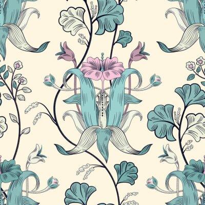Tapeta Kwiatowy wzór bez szwu. Styl retro roślin. Pionowe ozdobne kwiaty, nowoczesny motyw. Kolorowy ornament adamaszku