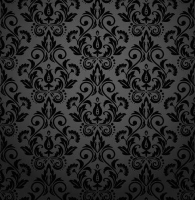 Tapeta Kwiatowy wzór. Bezszwowe tło wektor. Czarny ornament