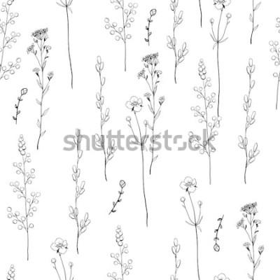 Tapeta Kwiatowy wzór dekoracyjny z czarno-białymi ziołami. Niekończące się tekstury do projektowania. Białe tło.