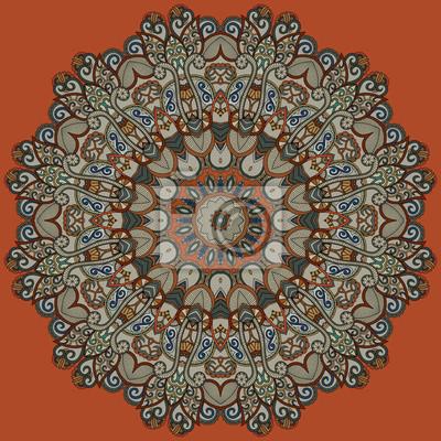 Tapeta Kwiatowy wzór koła. Mandala ozdobnych wielokolorowy