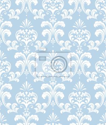 Tapeta Kwiatowy wzór. Tapeta barokowa, adamaszek. Bezszwowe tło wektor. Biały i niebieski ornament