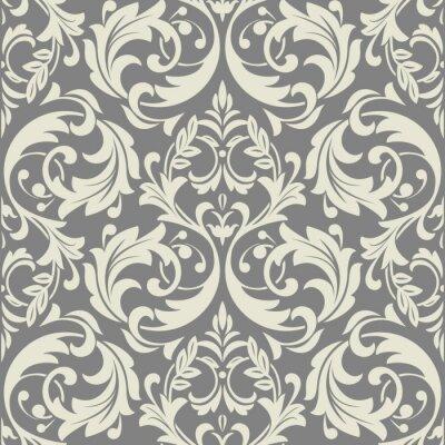 Tapeta Kwiatowy wzór. Tapeta barokowa, adamaszek. Bezszwowe tło wektor. Szary ornament