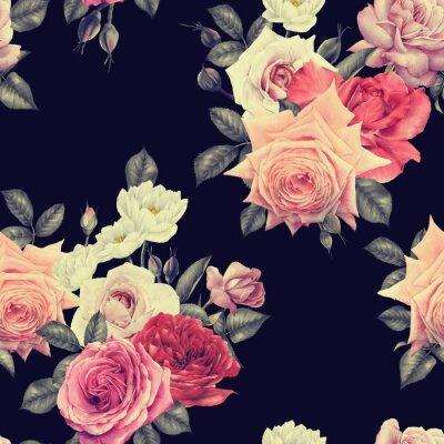 Tapeta Kwiatowy wzór z róż, akwarela.