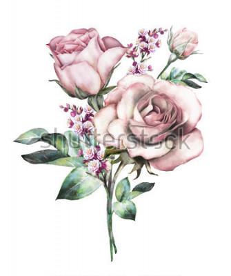 Tapeta kwiaty w akwarela. ilustracja kwiatowa, kwiat w pastelowych kolorach, różowa róża. gałąź kwiatów na białym tle. Liść i pąki. Śliczny skład dla ślubu lub kartka z pozdrowieniami. bukiet