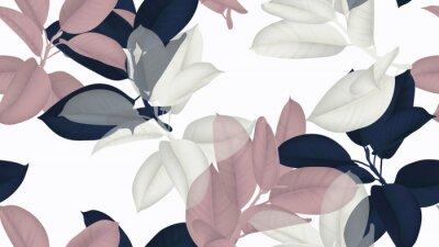 Tapeta Kwiecisty bezszwowy wzór, błękita, menchii i bielu Ficus Elastica / gumowa roślina na białym tle