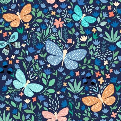 Tapeta Kwiecisty bezszwowy wzór z motylami, ręka rysujący wektorowy projekt