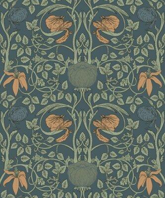 Tapeta Kwiecisty rocznika bezszwowy wzór dla retro tapet. Zaczarowane kwiaty w stylu vintage. Inspirowany ruchem Arts and Crafts.