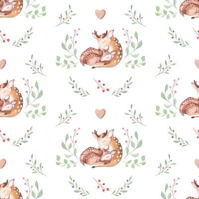 Tapeta Ładny akwarela dziecko jelenia zwierząt wzór, ilustracja na białym tle przedszkola dla dzieci odzież, wzory. Akwarela Ręcznie rysowane obraz boho Idealny do projektowania futerałów na telefony, plakat