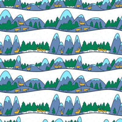 Tapeta Ładny krajobraz zimowy. Bożenarodzeniowy bezszwowy wzór z deers, górami i sosnami.