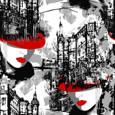 Tapeta Lady in red. Elegance Paris. Seamless pattern of the urban landscape with a woman in a red hat.