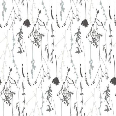 Tapeta Łąka traw, ziół i kwiatów kontury wektor wzór.