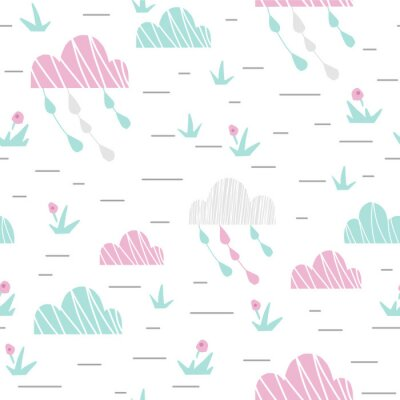 Tapeta Landscape with clouds and grass baby cute seamless pattern. Sweet cool illustration for nursery wallpaper, t-shirt, kids apparel, baby print, party. Simple girly design