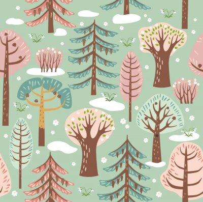 Tapeta Las, drzewa. Bezszwowe tło. Wiosna. Grafika wektorowa. Bezszwowy wzór