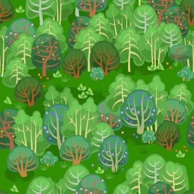 Tapeta Las latem z jagodami / bez szwu deseń bajki lasu w lecie
