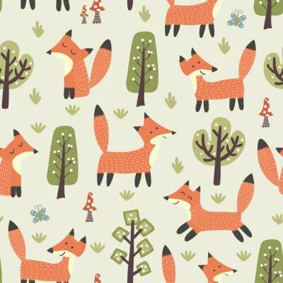 Tapeta Las szwu z uroczych małych lisów i drzew