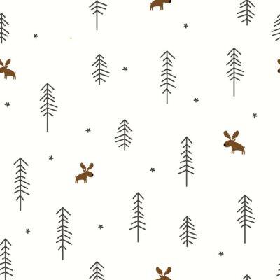 Tapeta Las zimowy z łosia