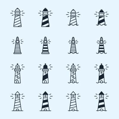 Tapeta Latarnia morska Beacon Sea Light Sign Symbol Minimalistyczny Flat Line Stroke Vector Icon