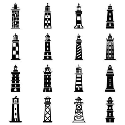 Tapeta Latarnia morska zestaw ikon, prosty styl