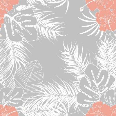 Tapeta Latem bezszwowych tropikalnych deseń z liści palmowych monstera i roślin na szarym tle