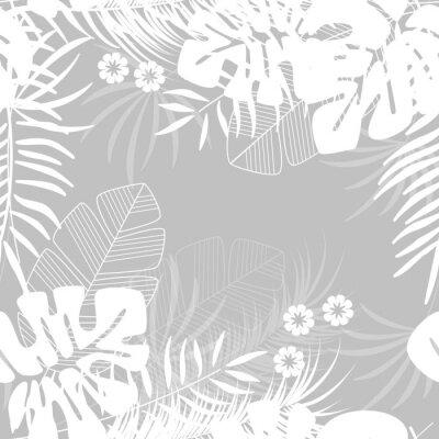 Tapeta Lato bezszwowe tropikalny wzór z liści palmowych monstera i rośliny na szarym tle