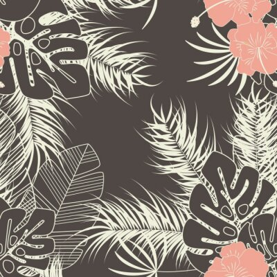 Tapeta Lato bezszwowe tropikalny wzór z liści palmowych monstera, rośliny i kwiaty na brązowym tle