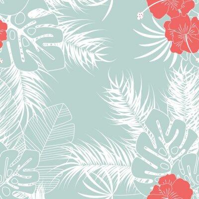 Tapeta Lato bezszwowych tropikalnych deseń z liści palmowych monstera i kwiaty na niebieskim tle