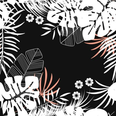 Tapeta Lato bezszwowych tropikalnych deseń z liści palmowych monstera i roślin na ciemnym tle