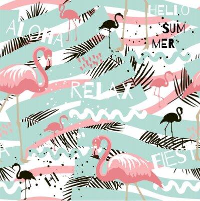 Tapeta Lato streszczenie wzór z flamingo