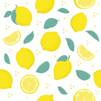 Tapeta Lemon Citrus seamless pattern with leaves. Tropical background Vector bright print for fabric or wallpaper.