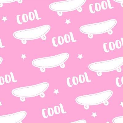 Tapeta Letni wzór z deskorolka i tekst Cool na różowym tle. Ozdoba na tekstylia i opakowanie. Wektor.