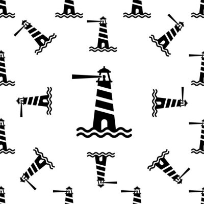 Tapeta Lighthouse Icon, Light Tower For Navigational Aid Seamless Pattern