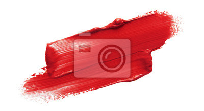 Tapeta Lipstick smear smudge swatch isolated on white background. Cream makeup texture. Bright red color cosmetic product brush stroke swipe sample