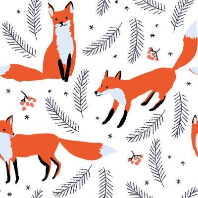 Tapeta Lisy, jagody i gałęzie świerkowe na białym tle śniegu. Wektor bez szwu deseniu z dzikich leśnych zwierząt. Zima ilustracji.