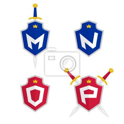 Tapeta Litera M N O P Wektor Logo Szablony List Logo Z Tarczą I