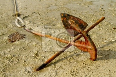 Łodzie w piasku kotwica