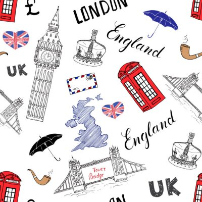 Tapeta London doodles miejskie elementy bez szwu. z ręcznie rysowane Tower Bridge, korona, Big Ben, czerwonym autobusem, UK mapie, flaga i napis, ilustracji wektorowych odizolowane