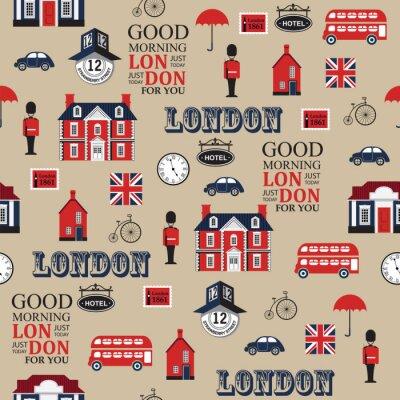 Tapeta London ulica bez szwu wektor wzór