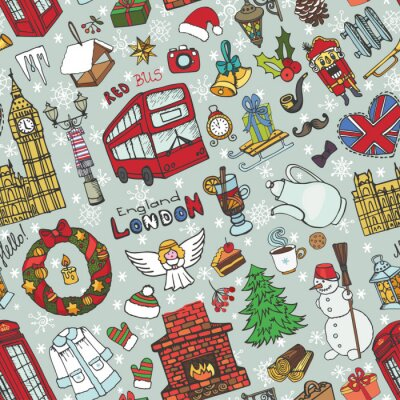 Tapeta London zima bez szwu pattern.Christmas Doodles