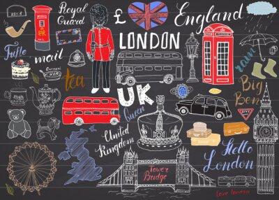 Tapeta Londyn elementy doodles miejskie kolekcji. Ręcznie rysowane zestaw z, Tower Bridge, korona, Big Ben, straży królewskiej, czerwonym autobusem, Wielkiej Brytanii mapie i flagi, Dzbanek do herbaty, napis