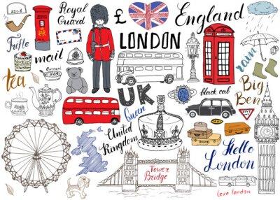 Tapeta Londyn elementy doodles miejskie kolekcji. Ręcznie rysowane zestaw z, Tower Bridge, korona, Big Ben, straży królewskiej, magistrali czerwony i czarny kabiny, UK mapie i flagi, Dzbanek do herbaty, napi