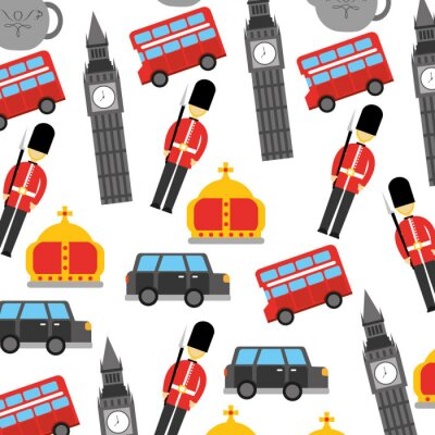 Tapeta Londyn i Wielka Brytania miasto żołnierz korona taksówką autobus big ben ikony