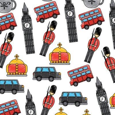 Tapeta Londyn i Wielka Brytania miasto żołnierz korona taksówką autobus big ben ikony wektorowe