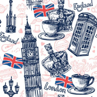 Tapeta Londyn Seamless Pattern