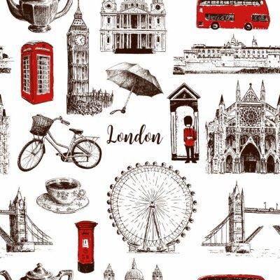 Tapeta Londyn symbole architektoniczne ręcznie rysowane wektor wzór szkic. Big Ben, Tower Bridge, czerwony autobus, skrzynka pocztowa, budka telefoniczna, gwardzista