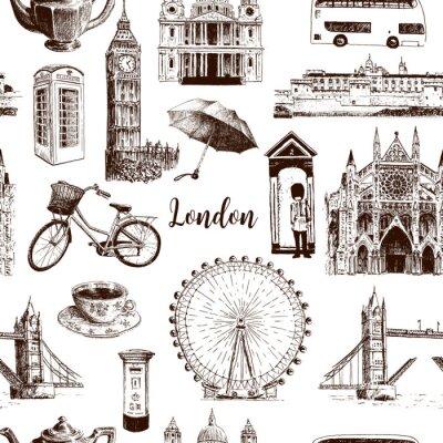 Tapeta Londyn symbole architektoniczne ręcznie rysowane wektor wzór szkic. Big Ben, Tower Bridge, czerwony autobus, skrzynka pocztowa, budka telefoniczna. Katedra św. Pawła